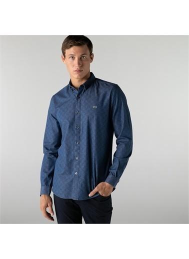 Lacoste Lacoste Erkek Slim Fit Desenli Mavi Gömlek Mavi